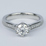 Tulip Pave Round Diamond Engagement Ring (0.75 ct.) - small