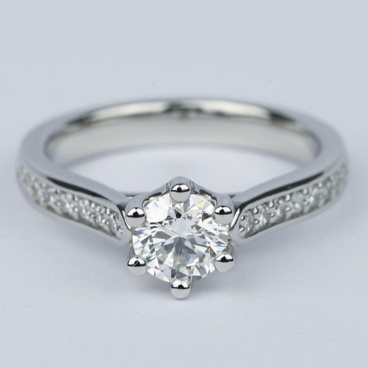 Tulip Pave Round Diamond Engagement Ring (0.75 ct.)