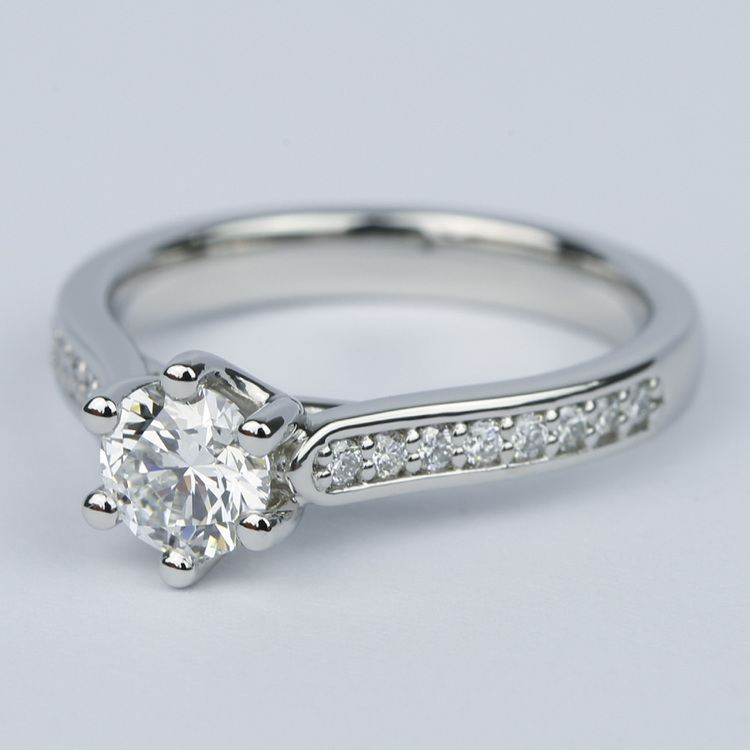 Tulip Pave Round Diamond Engagement Ring (0.75 ct.) angle 2
