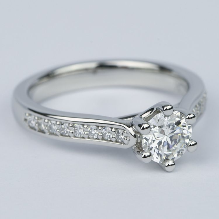 Tulip Pave Round Diamond Engagement Ring 0 75 Ct