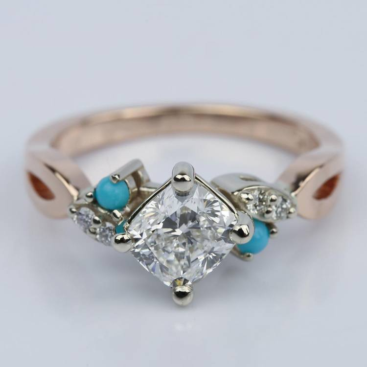 Turquoise Accented Cushion Diamond Engagement Ring