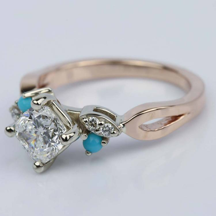 Turquoise Accented Cushion Diamond Engagement Ring angle 2