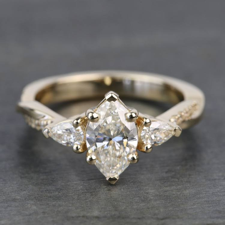 Custom Twisted Marquise & Pear Diamond Engagement Ring