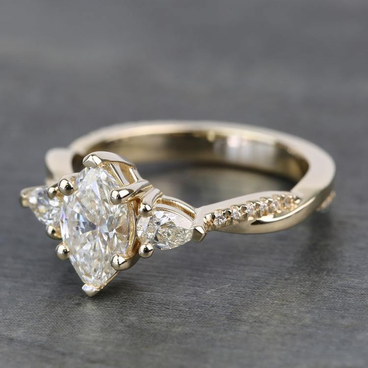 Custom Twisted Marquise & Pear Diamond Engagement Ring angle 2