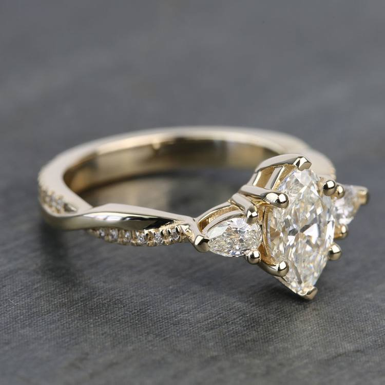 Custom Twisted Marquise & Pear Diamond Engagement Ring angle 3