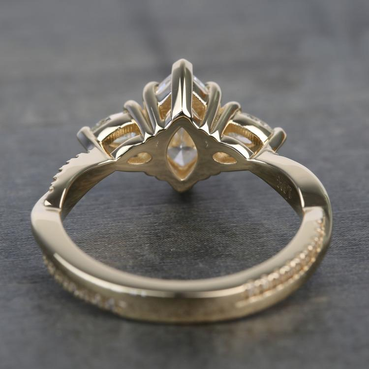 Custom Twisted Marquise & Pear Diamond Engagement Ring angle 4
