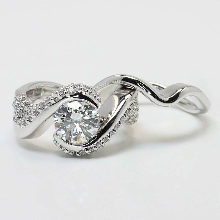 Custom Spiral Round Diamond Engagement Ring with Matching Band angle 4