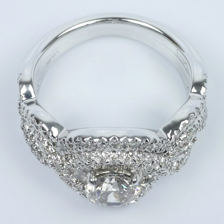 Twisted Pave Diamond Ring with Matching Diamond Band Wedding Set angle 4