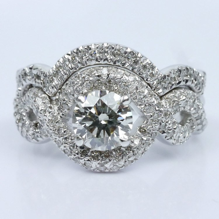 Twisted Pave Diamond Ring with Matching Diamond Band Wedding Set