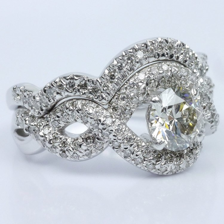 Twisted Pave Diamond Ring with Matching Diamond Band Wedding Set angle 3