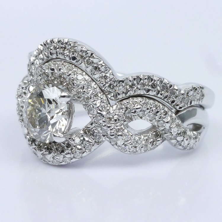 Twisted Pave Diamond Ring with Matching Diamond Band Wedding Set angle 2