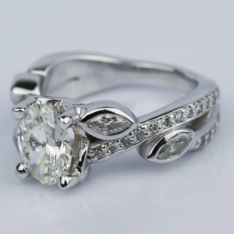 Twisted Petal 1.03 Carat Oval Diamond Engagement Ring angle 2