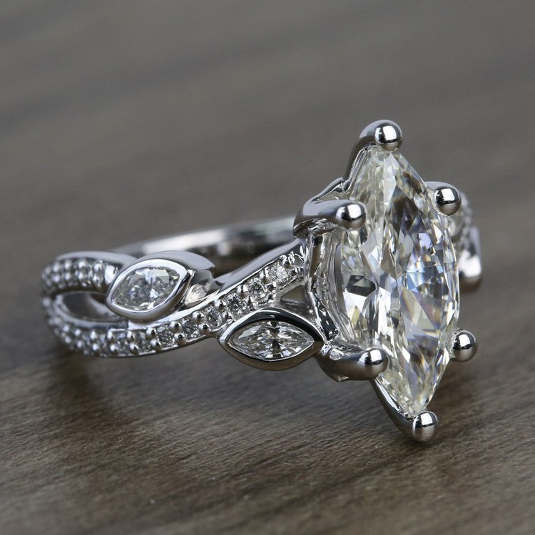 Twisted Petal 1.69 Carat Marquise Diamond Engagement Ring angle 3