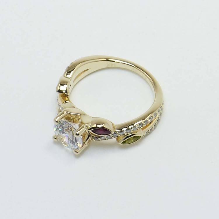Diamond & Gemstone Twisted Petal Engagement Ring angle 2