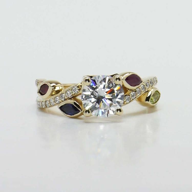 Diamond & Gemstone Twisted Petal Engagement Ring