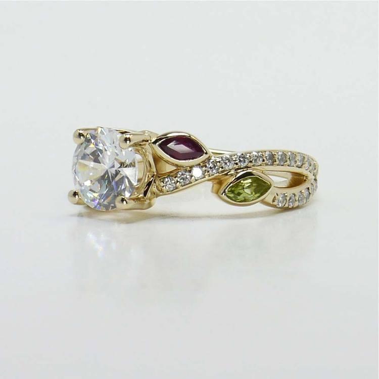 Diamond & Gemstone Twisted Petal Engagement Ring angle 3