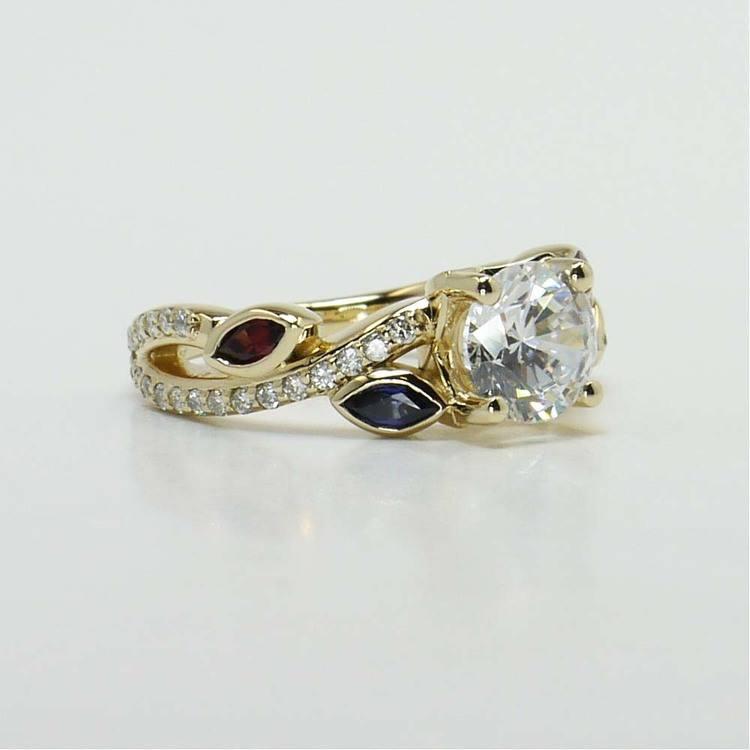 Diamond & Gemstone Twisted Petal Engagement Ring angle 4