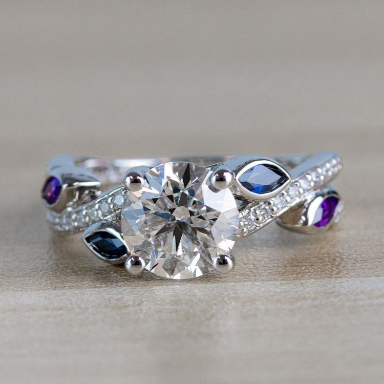 Twisted Petal Diamond Engagement Ring with Sapphire and Amethyst Side Stones