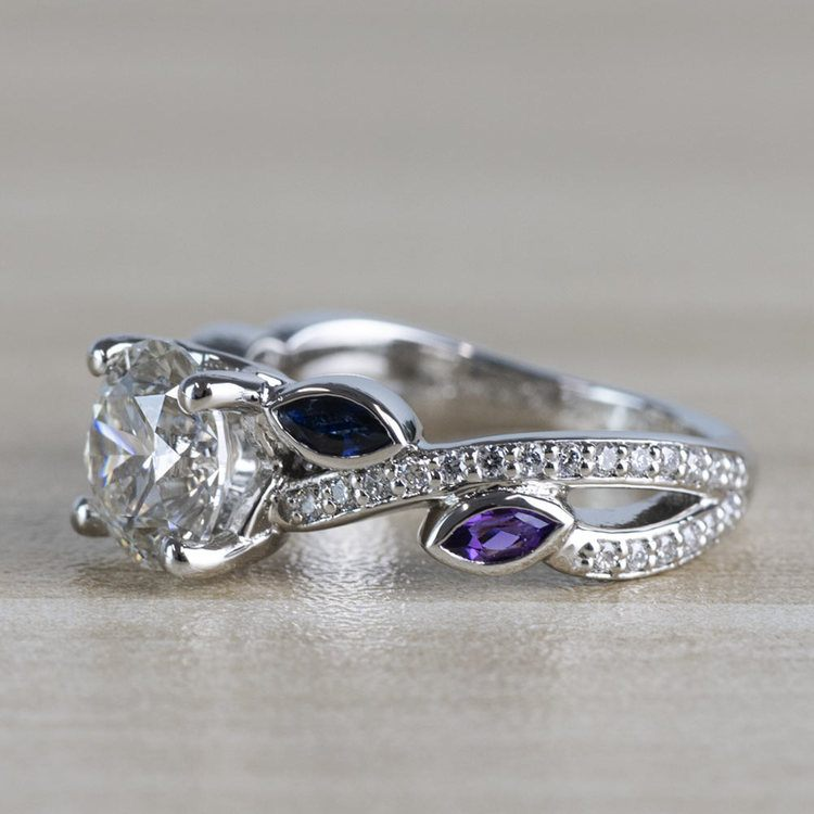 Twisted Petal Diamond Engagement Ring with Sapphire and Amethyst Side Stones angle 2