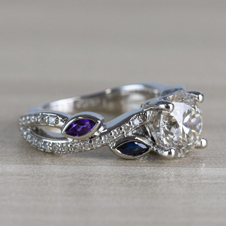 Twisted Petal Diamond Engagement Ring with Sapphire and Amethyst Side Stones angle 3