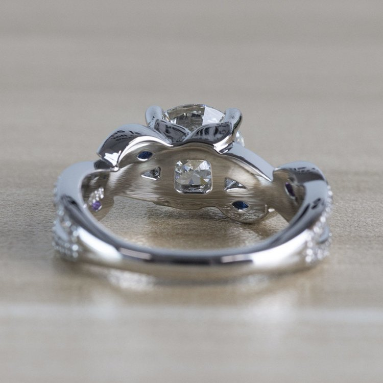 Twisted Petal Diamond Engagement Ring with Sapphire and Amethyst Side Stones angle 4