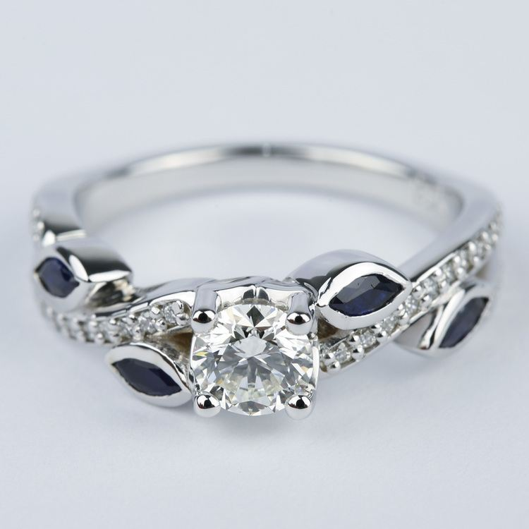 Twisted Petal Diamond Engagement Ring with Sapphire Petals (0.61 ct.)