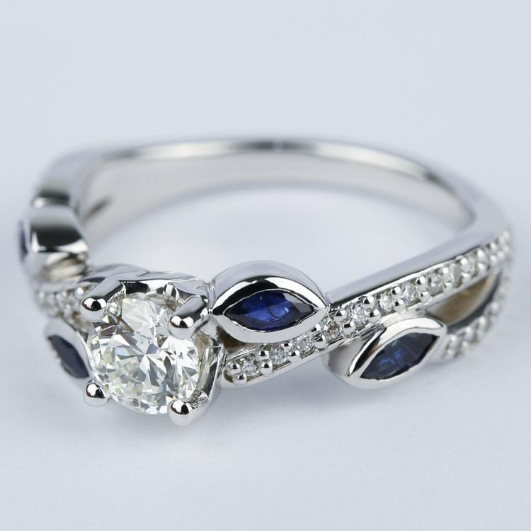Twisted Petal Diamond Engagement Ring with Sapphire Petals (0.61 ct.) angle 2