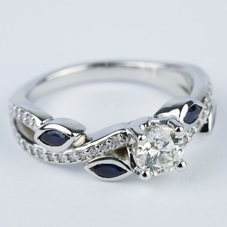 Twisted Petal Diamond Engagement Ring with Sapphire Petals (0.61 ct.) angle 3
