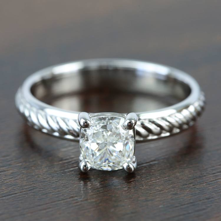 Twisted Rope 1.20 Carat Cushion Solitaire Diamond Engagement Ring