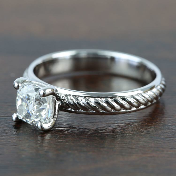 Twisted Rope 1.20 Carat Cushion Solitaire Diamond Engagement Ring angle 2