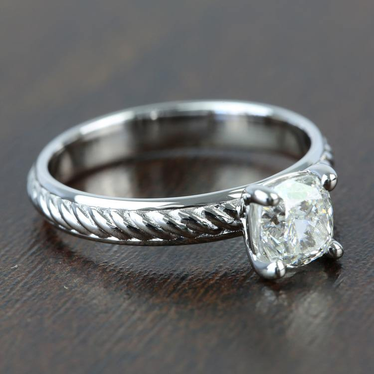 Twisted Rope 1.20 Carat Cushion Solitaire Diamond Engagement Ring angle 3