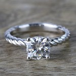 Twisted Rope Cushion Moissanite Engagement Ring - small