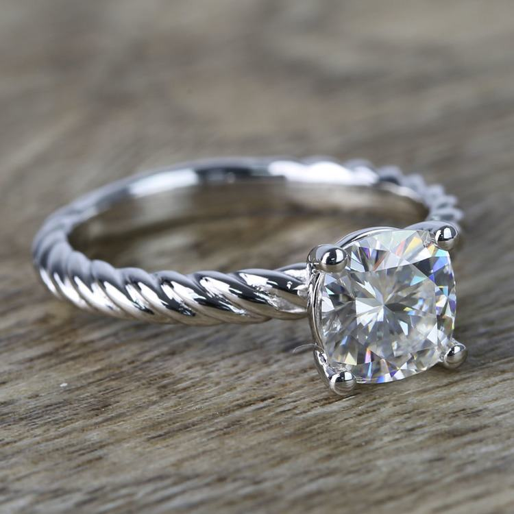 Twisted Rope Cushion Moissanite Engagement Ring angle 3