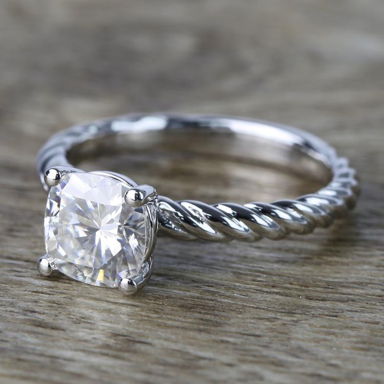 Twisted Rope Cushion Moissanite Engagement Ring angle 2