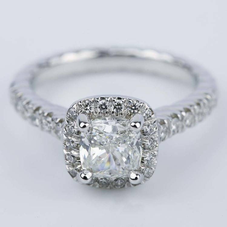 Twisted Rope Halo Engagement Ring with Cushion Diamond