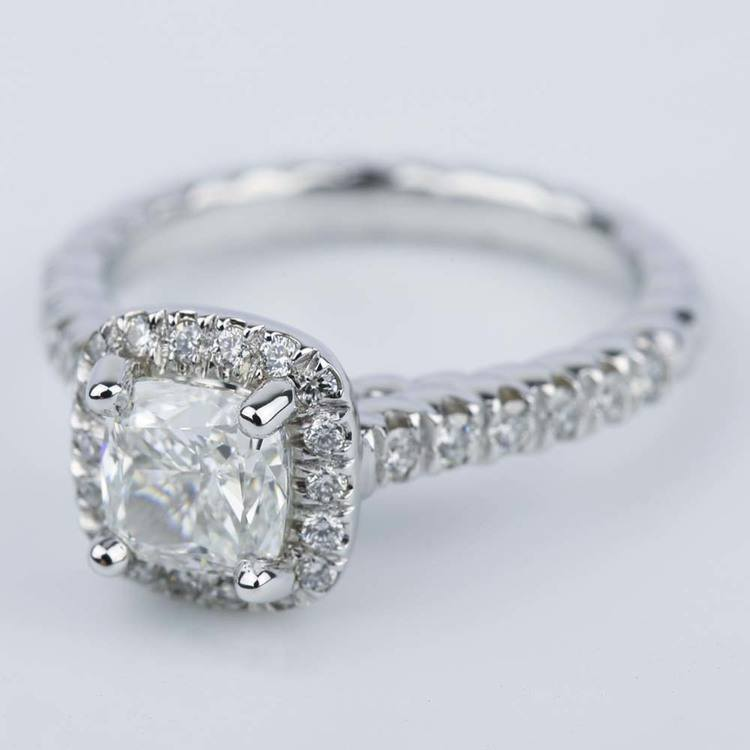 Twisted Rope Halo Engagement Ring with Cushion Diamond angle 2