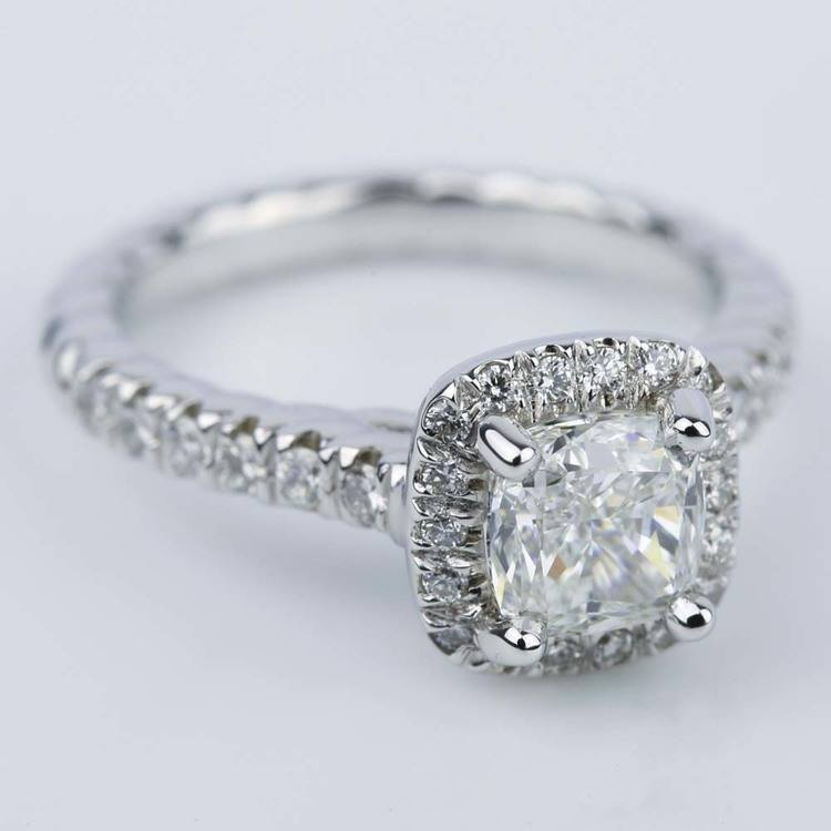 Twisted Rope Halo Engagement Ring with Cushion Diamond angle 3