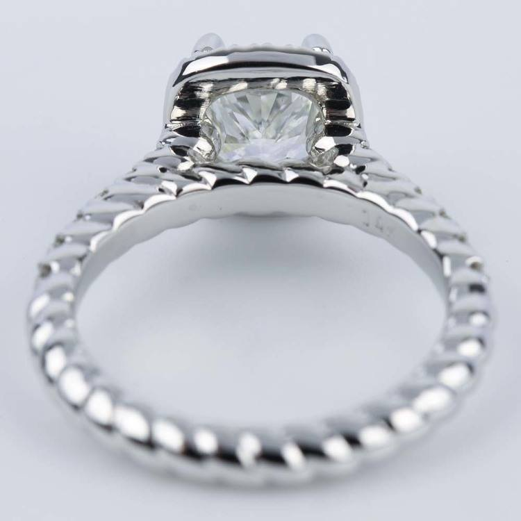 Twisted Rope Halo Engagement Ring with Cushion Diamond angle 4