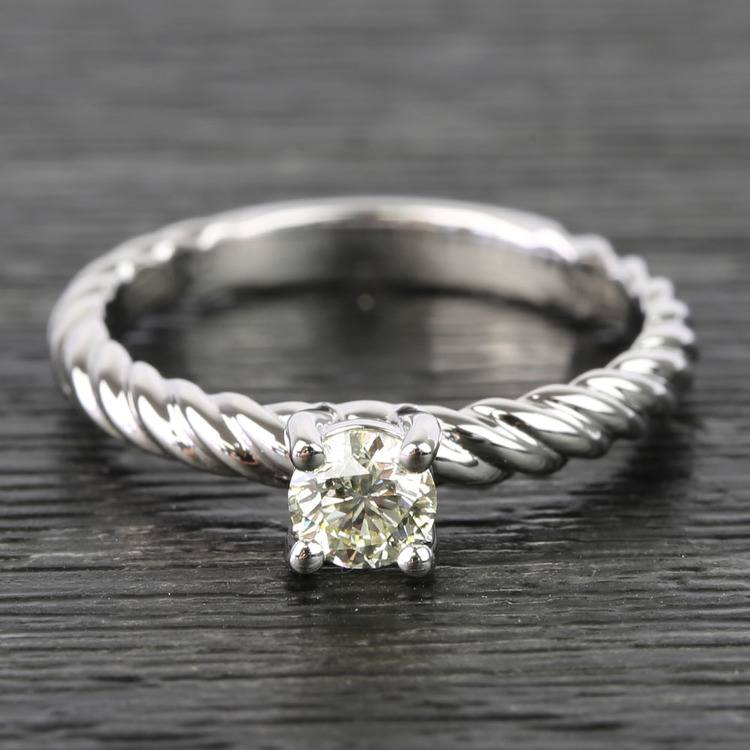 Twisted Rope Round Diamond Engagement Ring (0.31 Carat)