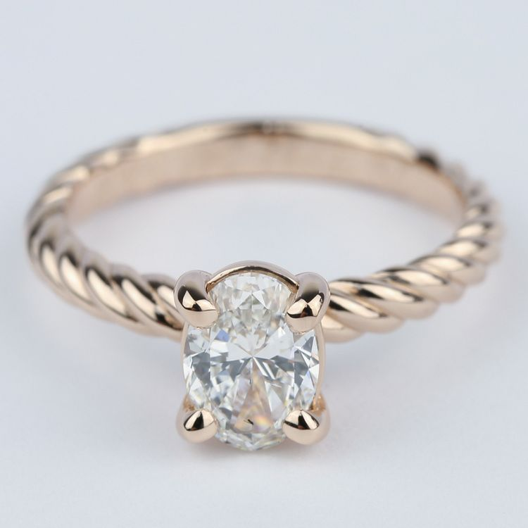 Twisted Rope Oval Solitaire Diamond Engagement Ring