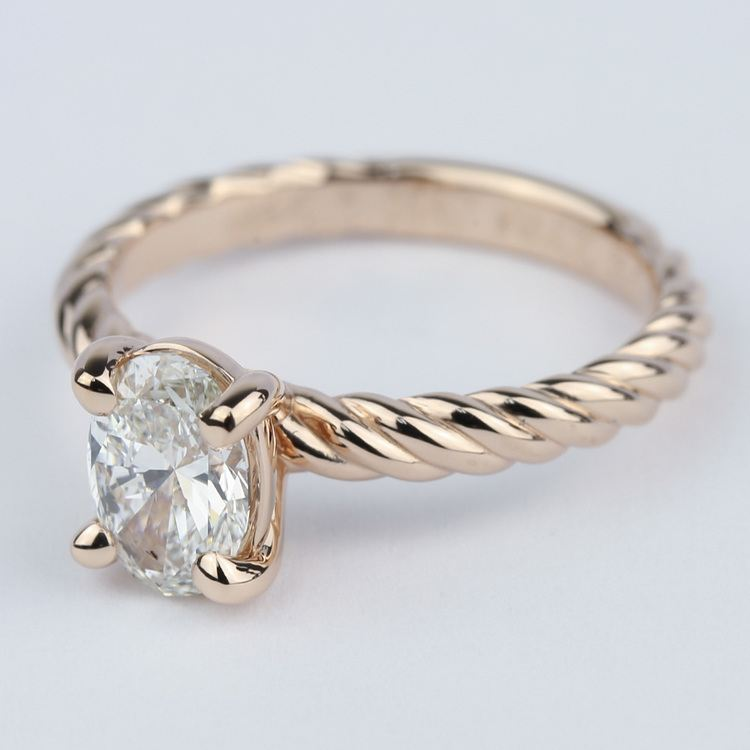 Twisted Rope Oval Solitaire Diamond Engagement Ring angle 2