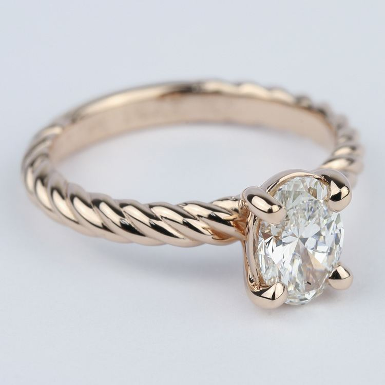 Twisted Rope Oval Solitaire Diamond Engagement Ring angle 3