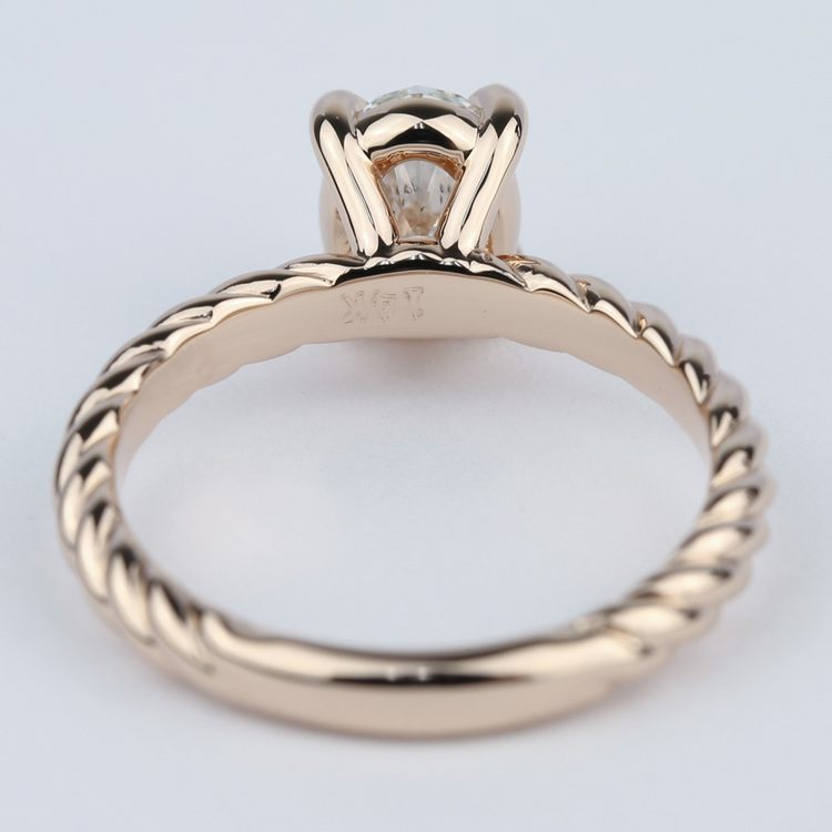 Twisted Rope Oval Solitaire Diamond Engagement Ring angle 4