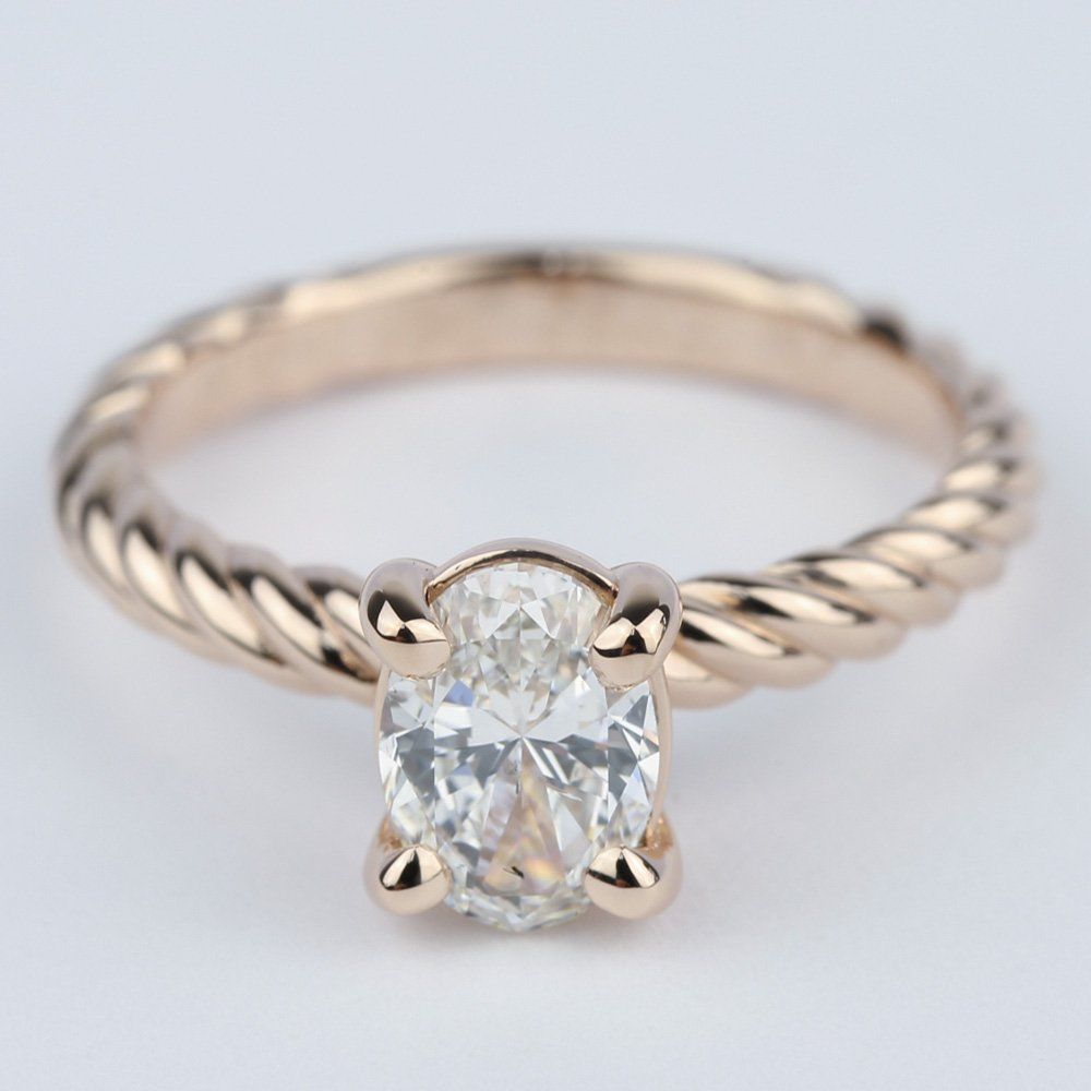 twisted rope oval solitaire diamond engagement ring. Black Bedroom Furniture Sets. Home Design Ideas