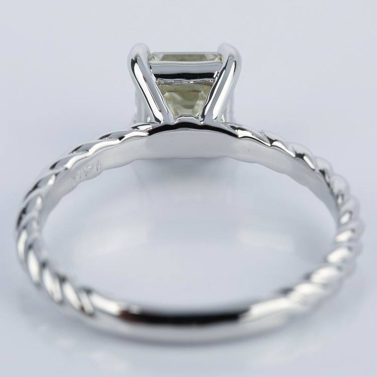 Twisted Rope Solitaire Asscher Diamond Engagement Ring angle 4