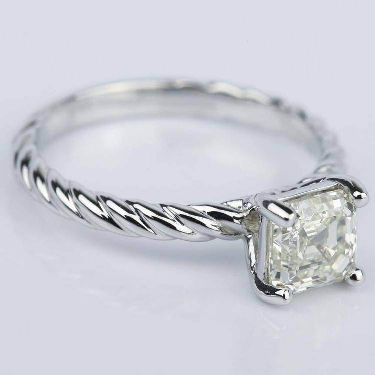 Twisted Rope Solitaire Asscher Diamond Engagement Ring angle 3