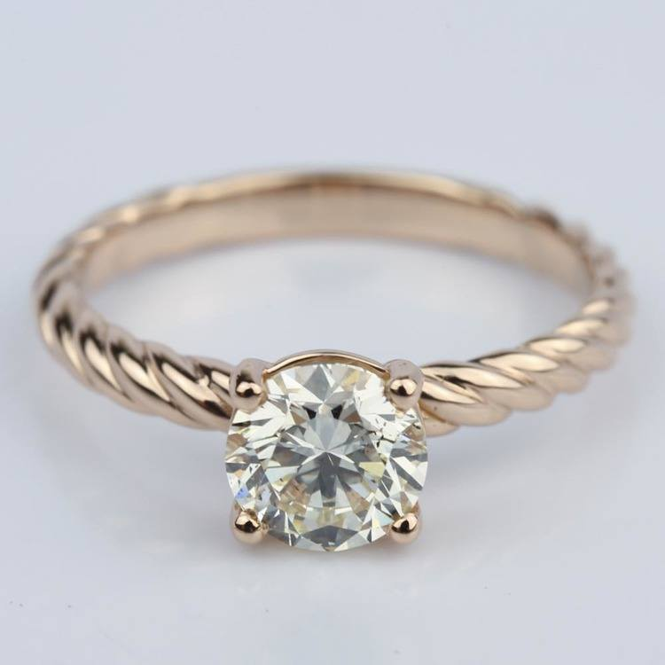 Twisted Rope Solitaire Diamond Engagement Ring (1.20 ct.)