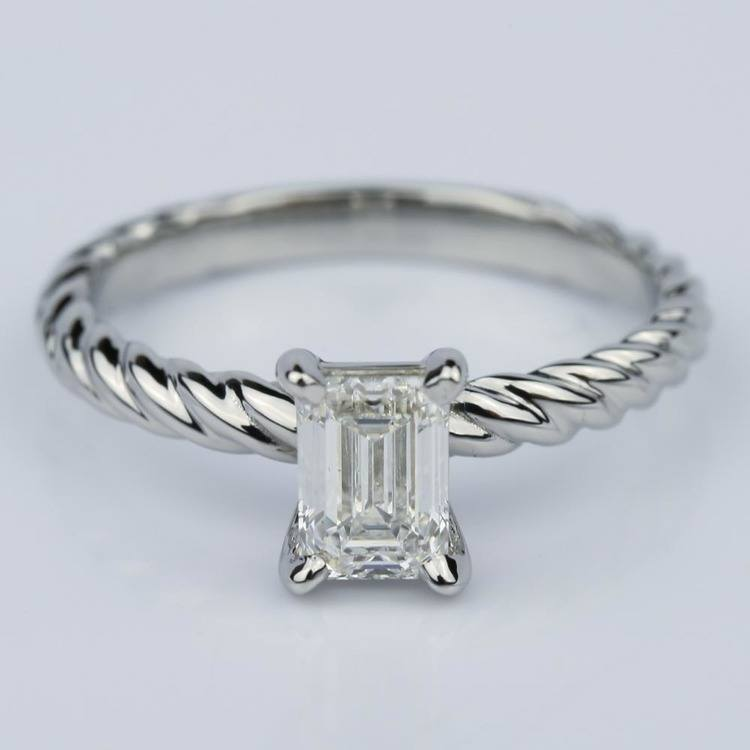 Twisted Rope Solitaire Emerald Diamond Engagement Ring in Palladium (0.91 ct.)