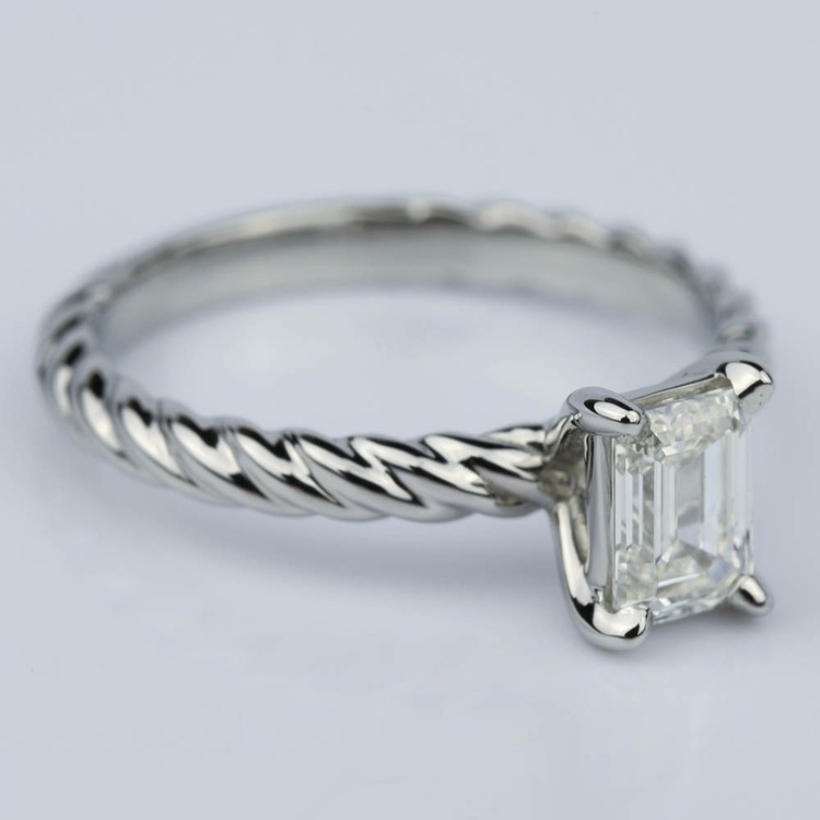 Twisted Rope Solitaire Emerald Diamond Engagement Ring in Palladium (0.91 ct.) angle 3