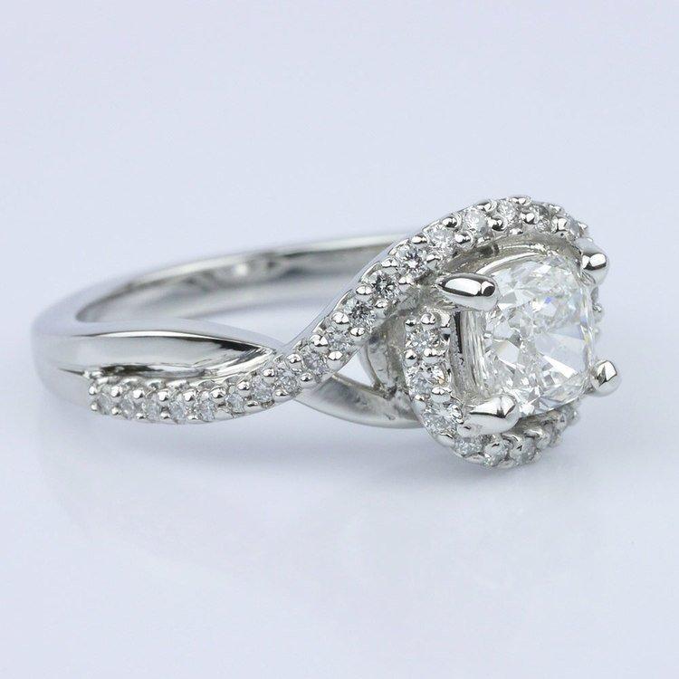 Twisted Split Shank and Swirl Halo Diamond Ring angle 3